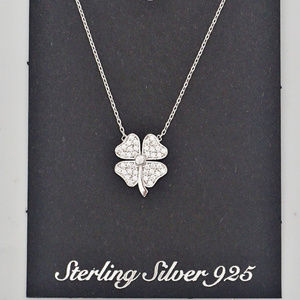 Sterling Silver 925 Cubic Clover Irish Necklace